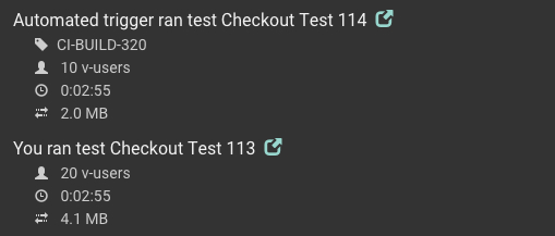 Automated tests show up in the Activity Feed