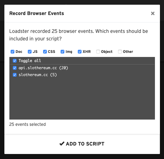 Previewing recorded browser events