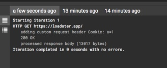 The custom Cookie header appears in the logs